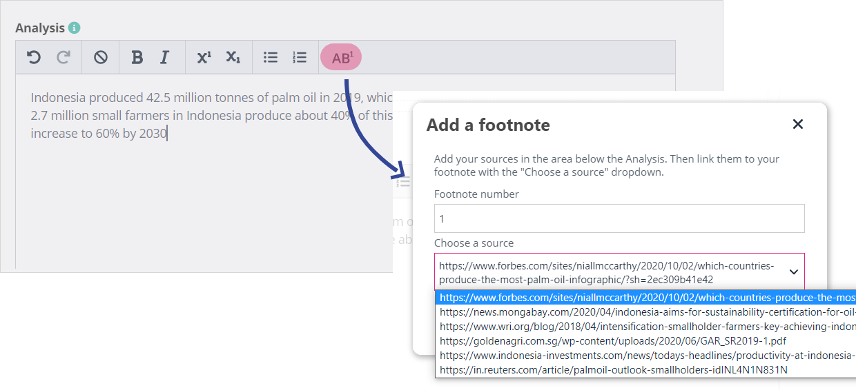 How to use the Footnote button